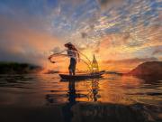 Fisherman at Mekong River_348742814