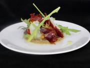2.Compotée de champignons printaniers, bœuf séché, riquette et copeaux de parmesan (1)
