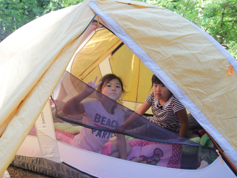 Staying in tent