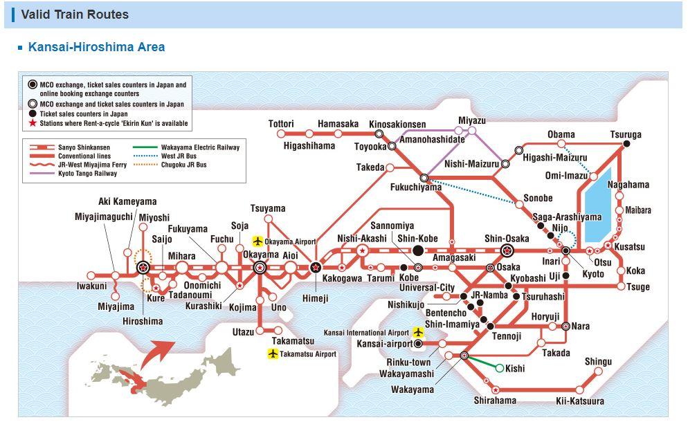 5Day Unlimited JR Train Pass Kansai and Hiroshima Kyoto tours