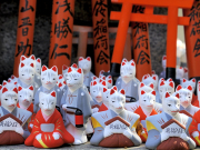 Japan_Kyoto_Fushimi_Inari_Shrine_Foxes_Statues_shutterstock_231378061