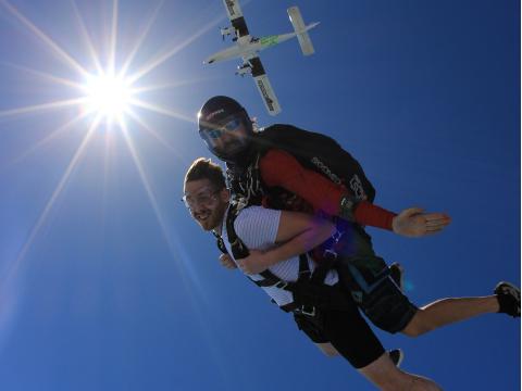 Tandem skydiving at Skydive Dubai Palm dropzone26