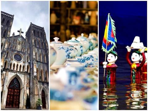 ハノイ1日充実ツアー 市内観光+バッチャン村+水上人形劇<フォーの昼食&ベトナム料理の夕食付/送迎/日本語ガイド>