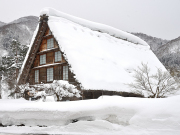 Gassho-zukuri open-air museum in winter with snow