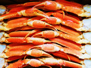 a buffet of crab legs caught from the Sea of Japan