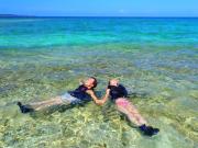 floating on water in Okinawa Kabira Bay