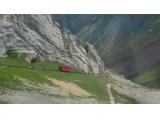 山頂からみた登山電車