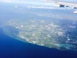 飛行機から見た海は、きれいでした!