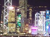 海上から香港サイドの夜景