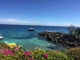 青い海。手前に写ってるフライボードも楽しいらしい。