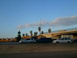 LAXに向かう車窓から、清々しい朝のハイウェイ。