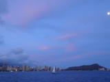 Waikiki Beach and Diamond Head by moonlight.