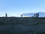 夕食場所の溶岩台地