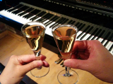 休憩時間のワインで乾杯。アイスワインでしょうか?甘くて濃厚でGoodでした。