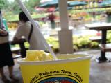 食べかけですが、パイナップルソフトクリーム!