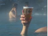 贅沢に外気氷点下のなか温泉に浸かってでビール!(1杯1,000円強)