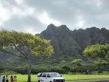 チャイナマンズハット駐車場から見たクアロアの山並そ