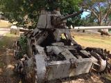 朽ちかけた日本軍の戦車です