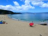 Waimea Bay beach calm in summer;40 foot waves in winter