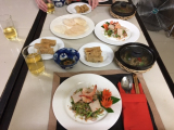 空心菜サラダ、上げ春巻き、ポーク蒸し焼き
